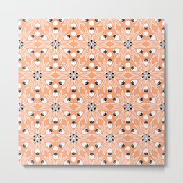 Soft Peach and White Flower with a touch of Black Seeds Floral Metal Print