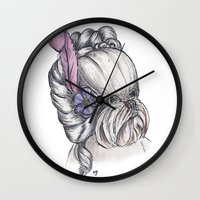 shih tzu Wall Clocks featuring 18th Century Shih-Tzu by Michelle J Poston