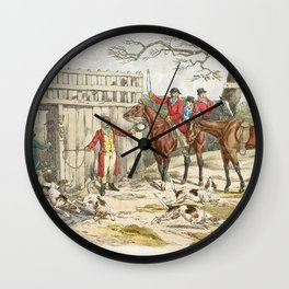 Illustration of releasing the dogs for hunting from Sporting Sketches (1817-1818) by Henry Alken (17 Wall Clock