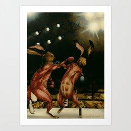 Boxing Rabbits Art Print