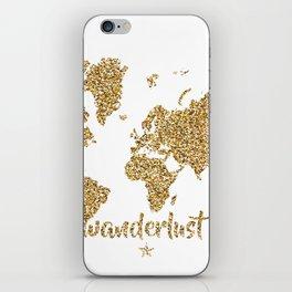 world map gold wanderlust iPhone Skin