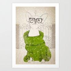 Hipster Chiuaua Art Print