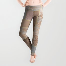 Copper and Blush Rose Gold Marble Quadrangle Geometrical Shapes Leggings