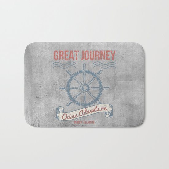 Maritime Design- Great Journey Ocean Adventure on grey abstract background #Society6 Bath Mat