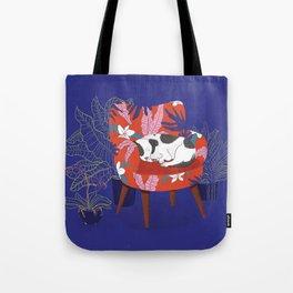 Sleeping Dog in Armchair – Dark Version Tote Bag