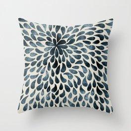 Blue Floral Petals Throw Pillow