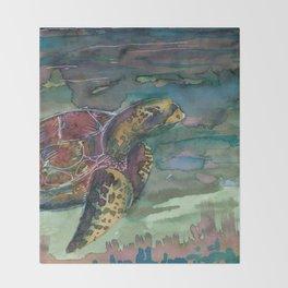 sea turtle watercolor Throw Blanket