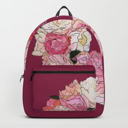 Peony Wreath Painting (wine red bordeaux) Backpack