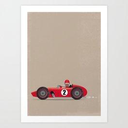 Retro Racing Car Red Art Print