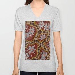 Aboriginal Art Authentic - Mountains Unisex V-Neck