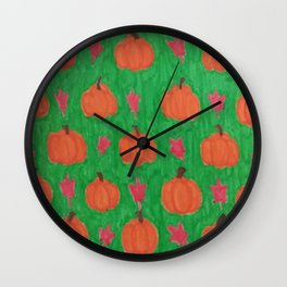 Green Pumpkin Patch Wall Clock
