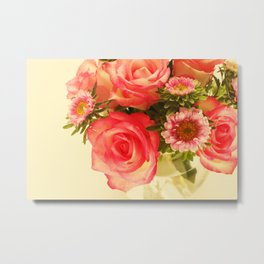 Beautiful pink roses with chrysanthemum in vase Metal Print