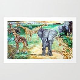 African Water Hole Art Print