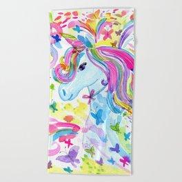 Mystical Rainbow Unicorn Beach Towel