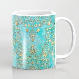 Teal Damask with Yellow Overlay Boho Coffee Mug