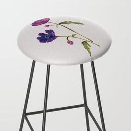 Anemone floral illustration white Bar Stool