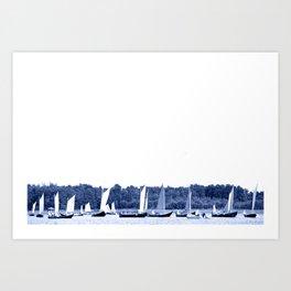 Dutch sailing boats in Delft Blue colors Art Print