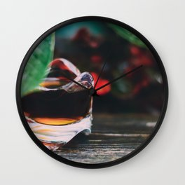 Leaf and Coffee Wall Clock