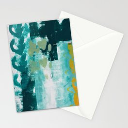 023: a vibrant abstract design in teal green and yellow by Alyssa Hamilton Art  Stationery Cards