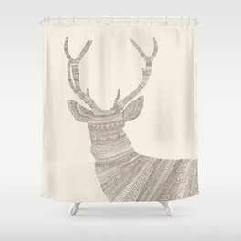Stag / Deer (On Beige) Shower Curtain