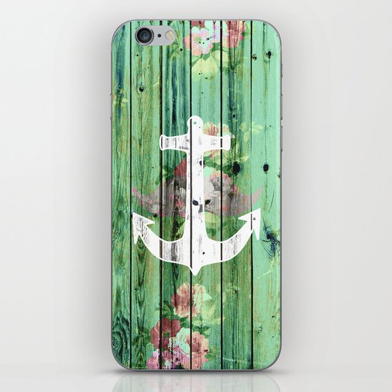 Vintage Floral Nautical Anchor Green Beach Wood iPhone & iPod Skin