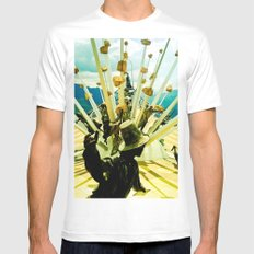 Power, struggle and survival. White MEDIUM Mens Fitted Tee
