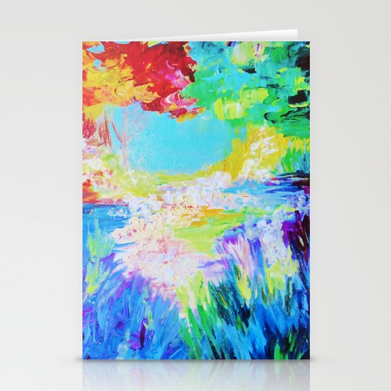 IN DREAMS - Gorgeous Bold Colors, Abstract Acrylic Idyllic Forest Landscape Secret Garden Painting Stationery Cards