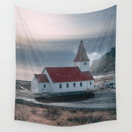 Floating Building in Vik Iceland Wall Tapestry