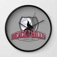 lacrosse Wall Clocks featuring Teen wolf - Beacon hills lacrosse team by Little wadoo