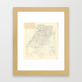 Old 1924 Historic State of Palestine South Map Framed Art Print
