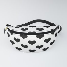 White Black Hearts Minimalist Fanny Pack