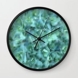 Cool Blue Green Abstract | Turquoise Pixelate | Contemporary Art Wall Clock