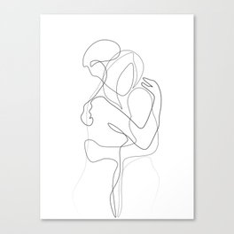 Lovers - Minimal Line Drawing Canvas Print