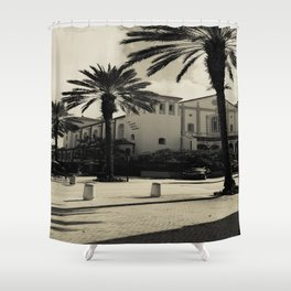 Black and White Spanish Architecture (West Palm Beach) Shower Curtain