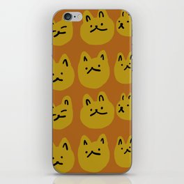 Weird Cat Faces - Sienna brown and burnt mustard iPhone Skin