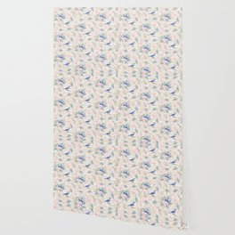 Chic Watercolour Blue Jay Spring Flowers Wallpaper