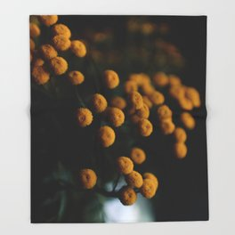 mustard yellow flowers Throw Blanket