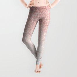 Rose Glitter Pink Marble Leggings