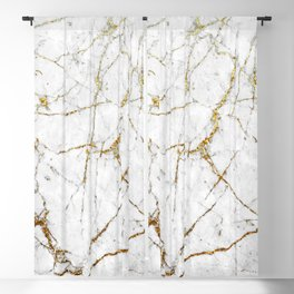 Gold Glitter and White Marble Blackout Curtain
