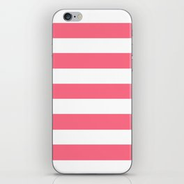Wild watermelon - solid color - white stripes pattern iPhone Skin