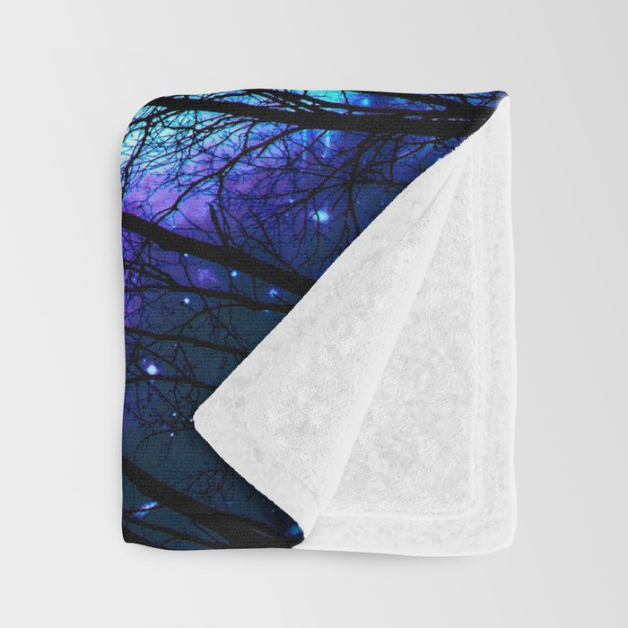black trees purple blue space copyright protected Throw Blanket