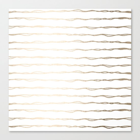 Simply Wavy Lines in White Gold Sands on White Canvas Print