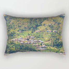 TERRACED HIMALAYAN FOOTHILLS VILLAGE IN NEPAL Rectangular Pillow