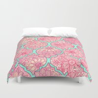 moroccan Duvet Covers featuring Moroccan Floral Lattice Arrangement in Pinks by micklyn