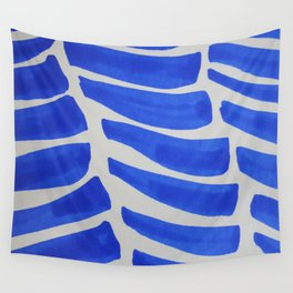 Royal blue Stripes pattern Wall Tapestry
