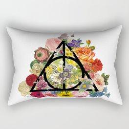 Floral Deathly Hallows - Black Rectangular Pillow