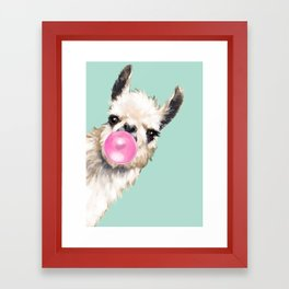 Bubble Gum Sneaky Llama in Green Framed Art Print
