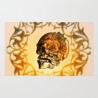 sugar skull Area & Throw Rugs featuring Sugar skull by nicky2342