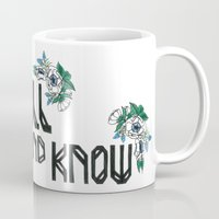 "bible verse Mugs featuring Hand-lettered bible verse ""be still and know"" with blue flowers by to florence with love"