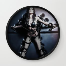 Fetish Dungeon - BDSM slave, bondage games, hot brunette tied, erotic in latex lingerie Wall Clock